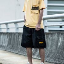 Street Style Plain Cotton Oversized Cargo Shorts