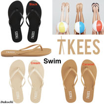 TKEES Rubber Sole Casual Style Leather Flip Flops Flat Sandals
