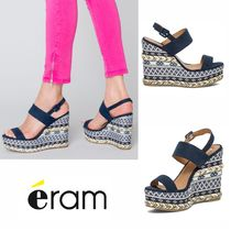 eram Other Check Patterns Union Jack mark Open Toe Casual Style