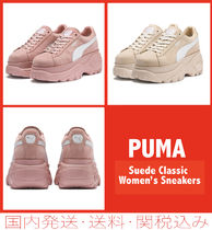 PUMA SUEDE Platform Plain Toe Casual Style Suede Blended Fabrics