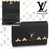 Louis Vuitton CAPUCINES Blended Fabrics Studded Plain Leather Folding Wallets