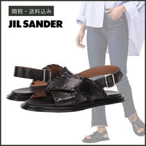 Jil Sander Open Toe Plain Leather Elegant Style Sandals Sandal