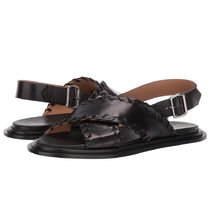 Jil Sander Open Toe Plain Leather Elegant Style Logo Sandals Sandal