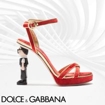 Dolce & Gabbana Open Toe Plain Block Heels Elegant Style Heeled Sandals
