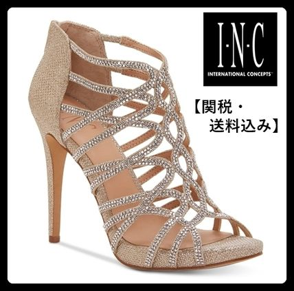 Open Toe Plain Pin Heels Party Style Shoes