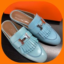 HERMES Round Toe Rubber Sole Leather Elegant Style Heeled Sandals