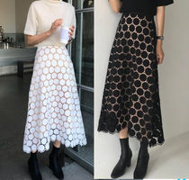 Dots Maxi Medium Midi Lace Elegant Style Maxi Skirts