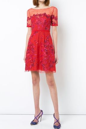 Short Flower Patterns A-line Short Sleeves Party Style