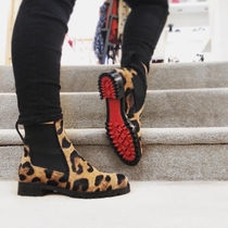 Christian Louboutin Leopard Patterns Round Toe Fur Chelsea Boots
