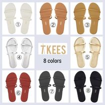 TKEES Round Toe Casual Style Plain Leather Flip Flops Sandals