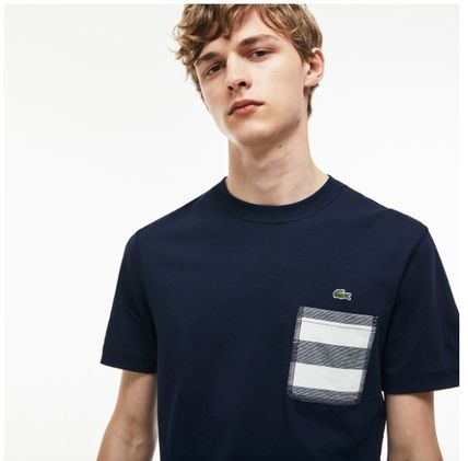 LACOSTE Crew Neck Crew Neck Stripes Street Style Cotton Logo