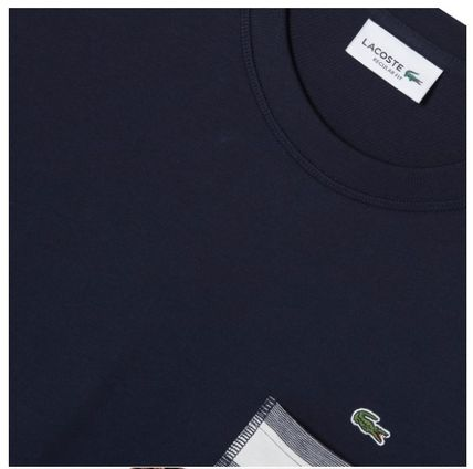 LACOSTE Crew Neck Crew Neck Stripes Street Style Cotton Logo 4