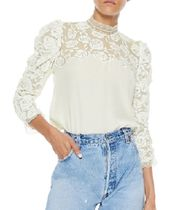 sandro Puffed Sleeves Plain Medium Lace Elegant Style
