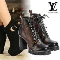Louis Vuitton MONOGRAM Monogram Plain Toe Block Heels Elegant Style High Heel Boots