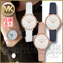 Michael Kors Blended Fabrics Leather Round Quartz Watches With Jewels