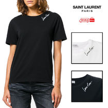 Saint Laurent Crew Neck Cotton Short Sleeves T-Shirts