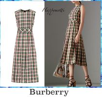 Burberry Other Check Patterns Sleeveless Medium Elegant Style Dresses