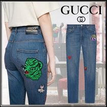 GUCCI Heart Casual Style Denim Long Skinny Pants