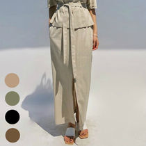 Casual Style Linen Plain Long Maxi Skirts
