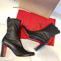 Christian Louboutin Plain Toe Plain Leather Block Heels High Heel Boots