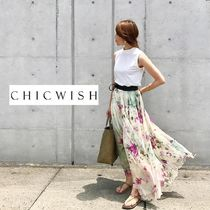 Chicwish Flared Skirts Flower Patterns Long Maxi Skirts