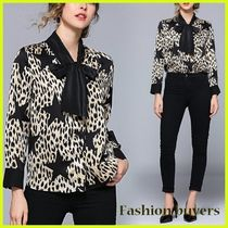 Star Leopard Patterns Chiffon Long Sleeves Medium