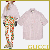 GUCCI Cotton Short Sleeves Oversized Shirts & Blouses