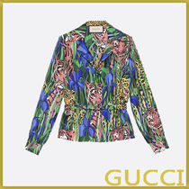 GUCCI Flower Patterns Silk Long Sleeves Shirts & Blouses