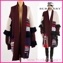 Burberry Casual Style Wool Fringes Oversized Coats