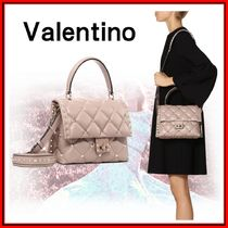 VALENTINO Studded 2WAY Leather Elegant Style Shoulder Bags
