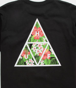 HUF Crew Neck Crew Neck Flower Patterns Street Style Short Sleeves 3