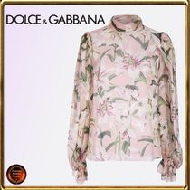Dolce & Gabbana Flower Patterns Casual Style Silk Puffed Sleeves