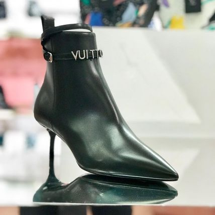 Louis Vuitton Ankle & Booties Blended Fabrics Plain Leather Pin Heels Elegant Style