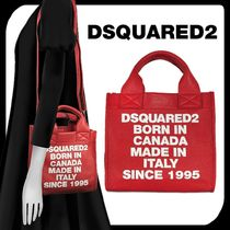 D SQUARED2 Unisex Street Style Plain Leather Totes