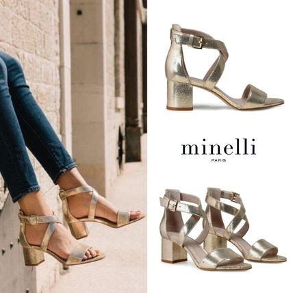 Open Toe Plain Leather Block Heels Elegant Style