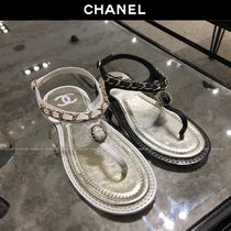 CHANEL Chain Plain Leather Elegant Style Sandals Sandal