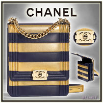 CHANEL BOY CHANEL Stripes Blended Fabrics 2WAY Chain Leather Elegant Style
