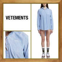 VETEMENTS Stripes Long Sleeves Cotton Shirts & Blouses