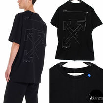 Off-White Crew Neck Street Style Cotton Short Sleeves Oversized