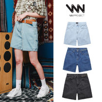 WV PROJECT Short Unisex Street Style Cotton Denim & Cotton Shorts
