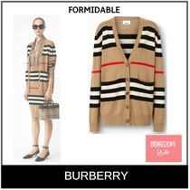 Burberry Stripes Casual Style Wool Long Sleeves Cardigans
