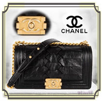 CHANEL BOY CHANEL Calfskin Chain Plain Elegant Style Handbags