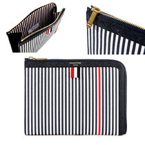 THOM BROWNE Stripes Unisex Leather Clutches