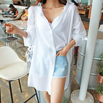 Casual Style Long Sleeves Plain Cotton Long Shirts & Blouses