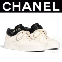 CHANEL SPORTS Unisex Blended Fabrics Street Style Bi-color Leather