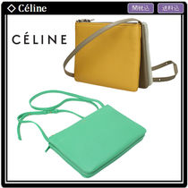 CELINE Trio Bag Calfskin 2WAY Plain Elegant Style Shoulder Bags
