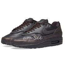 Nike AIR MAX 1 Round Toe Rubber Sole Casual Style Unisex Street Style Plain