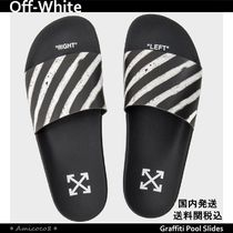 Off-White Stripes Unisex Street Style Shower Shoes Shower Sandals