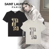 Saint Laurent Crew Neck Street Style Cotton Short Sleeves T-Shirts