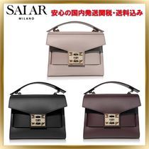 SALAR MILANO Studded 2WAY Chain Plain Leather Elegant Style Shoulder Bags